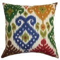 Kaula Ikat Green and Blue Down Filled Throw Pillow