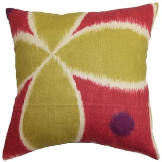 Lenis Ikat Pink Green Down Filled Throw Pillow