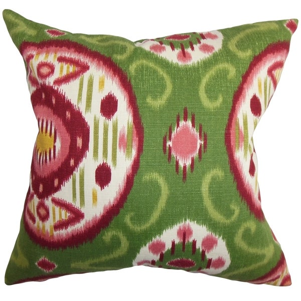 Maitryi Ikat Pink Green Down Filled Throw Pillow