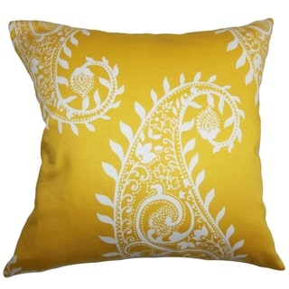 Neysa Paisley White and Yellow Down Filled Throw Pillow