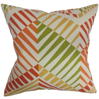 Ackley Geometric Green and Orange Down Filled Throw Pillow