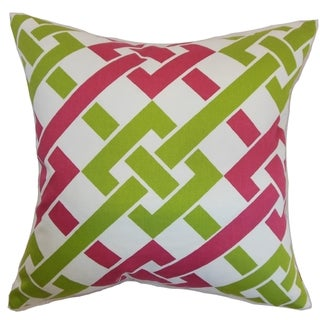 Fetlar Geometric Rose and Green Down Filled Throw Pillow
