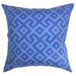 Aban Geometric Indigo Down Filled 18-inch Throw Pillow