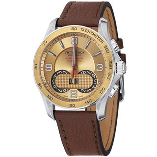 Swiss Army Men's 241617 'Chrono Classic' Gold Dial Brown Leather Strap Quartz Watch
