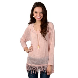 Hailey Jeans Co. Junior's Long Sleeve Crochet Trim Top