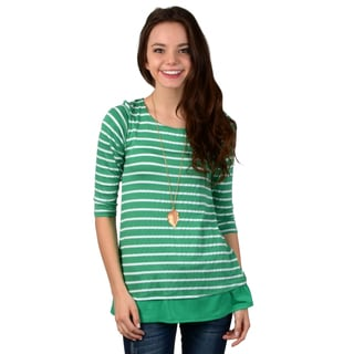 Hailey Jeans Co. Junior's Striped Button-Accent Top