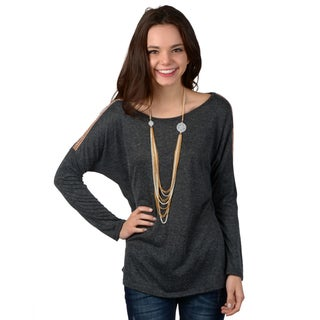 Hailey Jeans Co. Junior's Dolman Sleeve Shoulder Accent Top