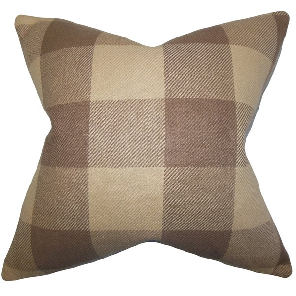Abrial Brown Plaid Down Filled Throw Pillow