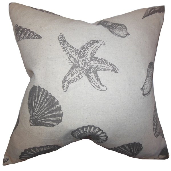 Brilie Gray Coastal Down Filled Throw Pillow