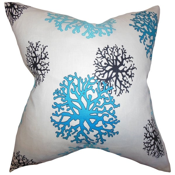 Coraline Aqua Coastal Down Filled Throw Pillow