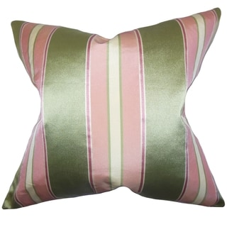 Camber Pink Stripes Down Filled Throw Pillow