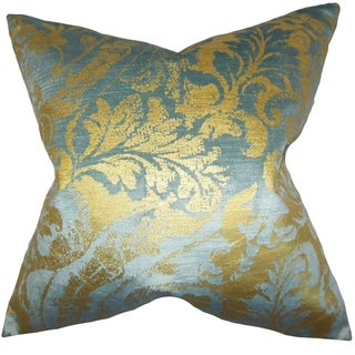 Fyodora Aqua Damask Down Filled Throw Pillow