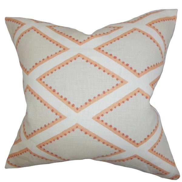 Alaric Geometric Gray Cora lDown Filled Throw Pillow
