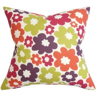Quilla Purple Floral Down Filled Throw Pillow