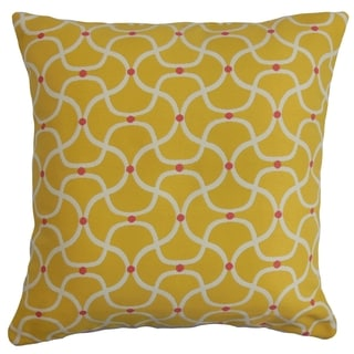 Radha Yellow Geometric Down Filled Throw Pillow