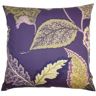 Delia Purple Floral Down Filled Throw Pillow