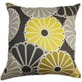 Gisela Yellow and Gray Floral Down Filled Throw Pillow