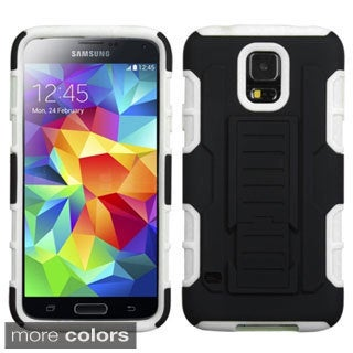 INSTEN Car Armor Rubberized Hard Plastic Stand Protector Phone Case Cover for Samsung Galaxy S5/ SV