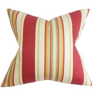 Douce Red Stripes Feather and Down Filled 18-inch Throw Pillow