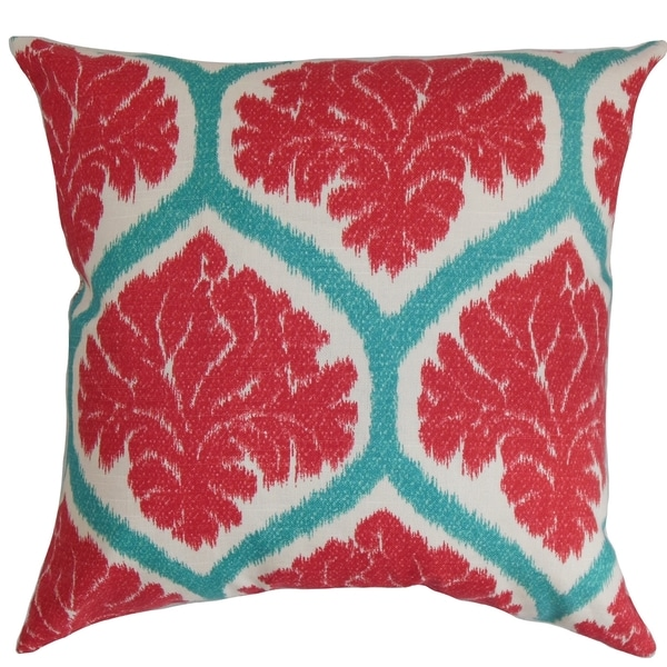 Priya Floral Down Fill Throw Pillow Poppy Red