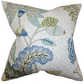 Ahna Floral Down Fill Throw Pillow Aqua