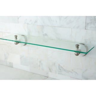 Brushed Nickel Glass Bathroom Shelf - Grey