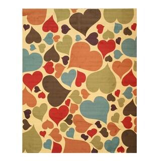 Ivory Hearts Rug (5'3 x 7'3)