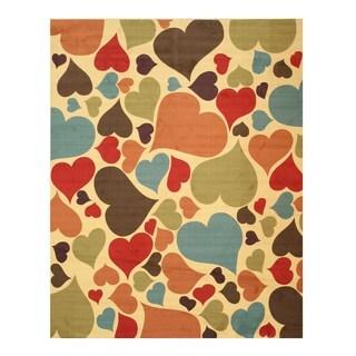 Ivory Hearts Rug (7'10 x 9'10)