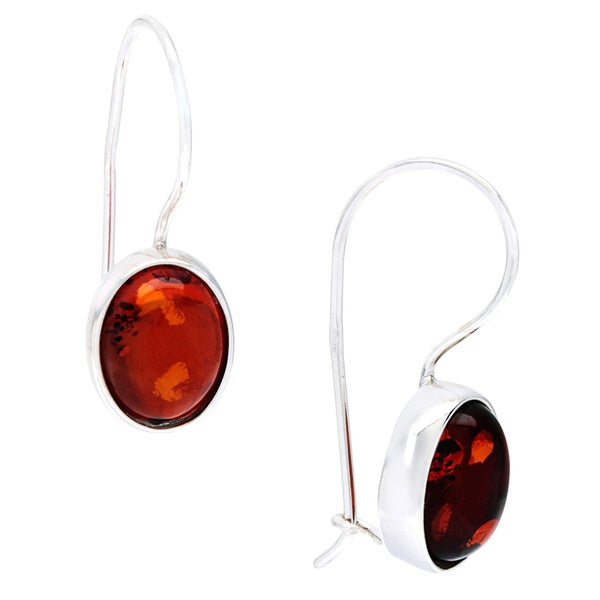Sterling Silver Amber Dangle Polished Hook Earrings