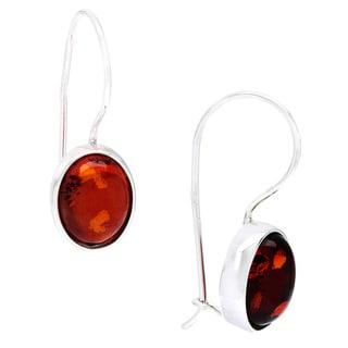 Sterling Silver Amber Dangle Polished Hook Earrings
