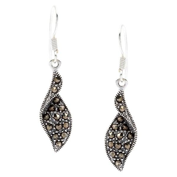 Sterling Silver Marcasite Polished Hook Earrings 12933953