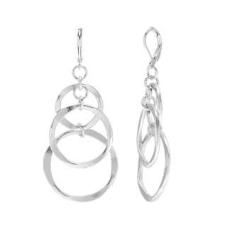Polished Metal Dangling Hammered 3-hoop Earrings