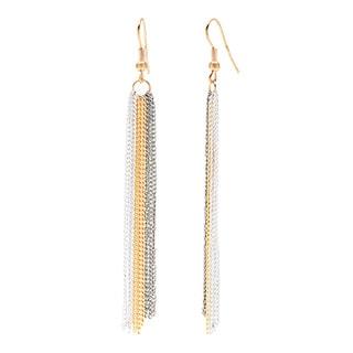 Tri-color Metal Streaming Chain Dangle Earrings