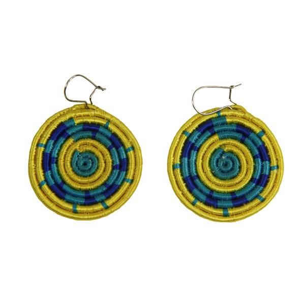 Handwoven Sunshine Disk Dangle Earrings (Rwanda)