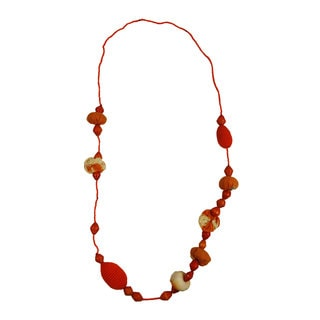 Handmade Orange Crush Beaded Necklace (Rwanda)