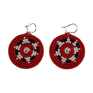 Handmade Starlight Woven Disk Earrings (Rwanda)