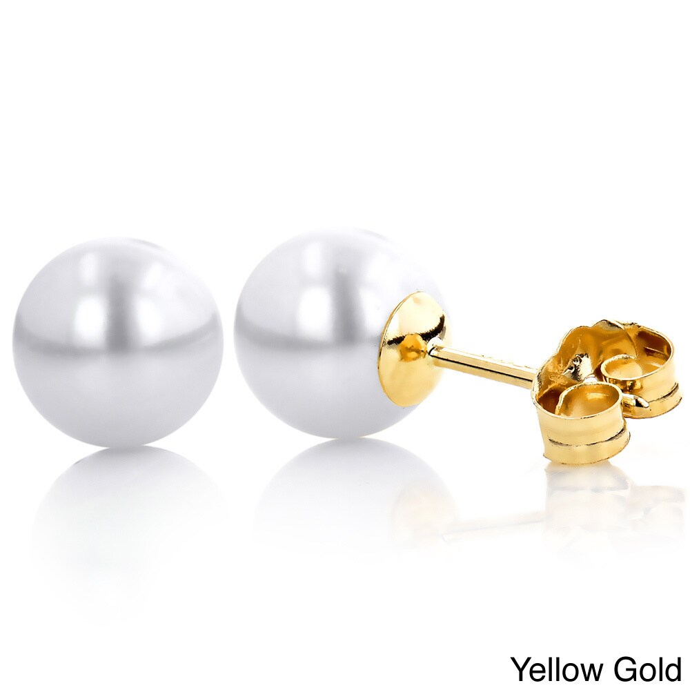 Overstock.com 14k Gold White Fresh Water Pearl Stud Earrings (6-6.5mm)