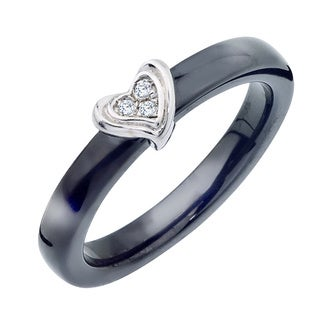 Black Ceramic Sterling Silver Diamond Accent Heart Ring