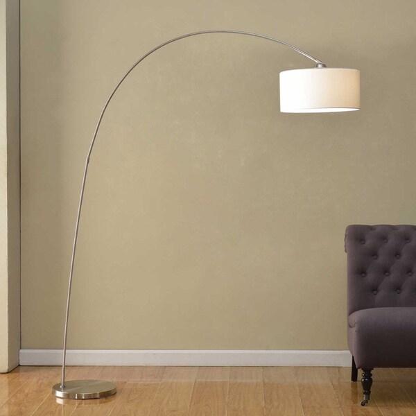 usa 39 micah 39 modern arched brushed steel five light 88 inch floor. Black Bedroom Furniture Sets. Home Design Ideas