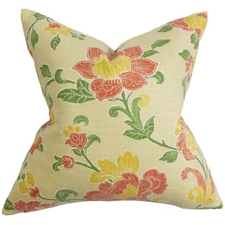 Duscha Yellow and Red Floral Pillow