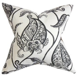Fenella Black and White Floral Pillow