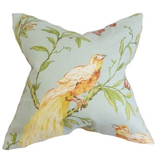 Giulia Blue and Green Floral Feather and Down Filled 18-inch Throw Pillow