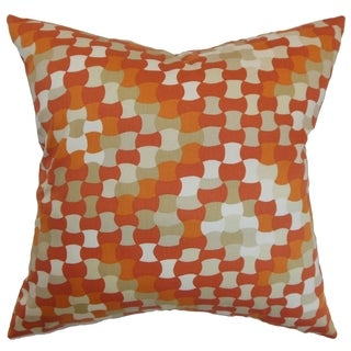 Gaya Tangerine Geometric Feather and Down Filled 18-inch Throw Pillow