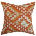 Gaya Tangerine Geometric Feather and Down Filled  Throw Pillow