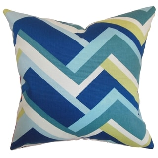Hoonah Aqua Geometric Down Filled Throw Pillow