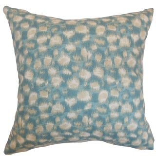 Imperatriz Aqua Geometric Feather and Down Filled 18-inch Throw Pillow