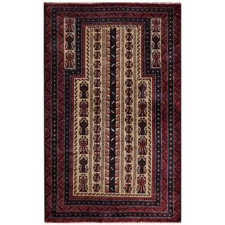 Semi-antique Afghan Hand-knotted Tribal Balouchi Beige/ Maroon Wool Rug (2'10 x 4'6)