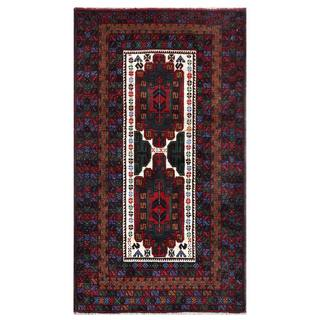 Semi-antique Afghan Hand-knotted Tribal Balouchi Ivory/ Red Wool Rug (2'10 x 5')
