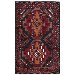 Herat Oriental Semi-antique Afghan Hand-knotted Tribal Balouchi Navy/ Red Wool Rug (2'9 x 4'7)