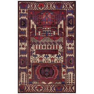 Semi-antique Afghan Hand-knotted Tribal Balouchi Beige/ Maroon Wool Rug (2'6 x 4'3)